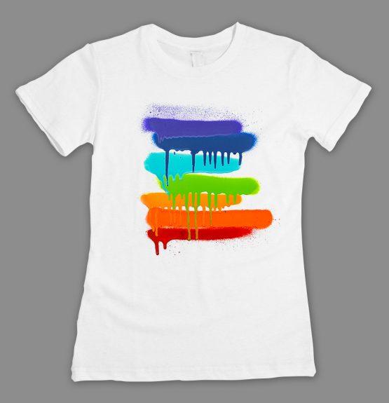 Graffiti-Pacestreifen T-Shirt weiss_fitted